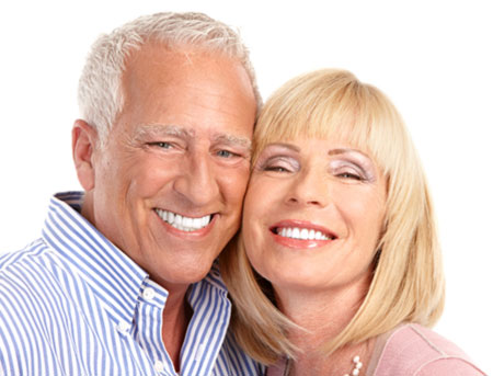 Dentistry older couple smiling
